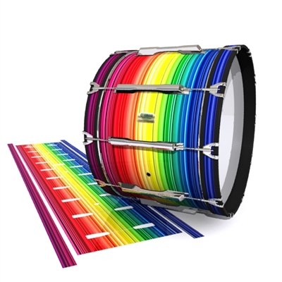 Yamaha 8200 Field Corps Bass Drum Slip - Rainbow Stripes (Themed)