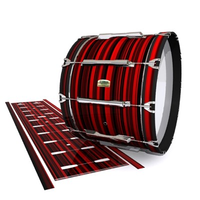 Yamaha 8200 Field Corps Bass Drum Slip - Red Horizon Stripes (Red)