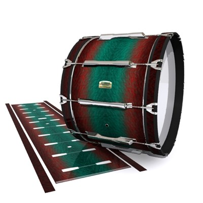 Yamaha 8200 Field Corps Bass Drum Slip - Red River Fade (Red) (Aqua)