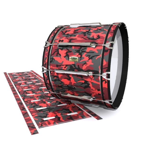 Yamaha 8200 Field Corps Bass Drum Slip - Red Slate Traditional Camouflage (Red)