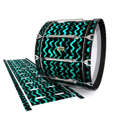 Yamaha 8200 Field Corps Bass Drum Slip - Wave Brush Strokes Aqua and Black (Green) (Blue)