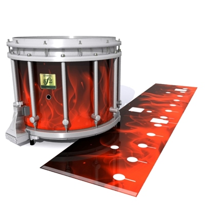 Yamaha 9200 Field Corps Snare Drum Slip - Red Flames (Themed)