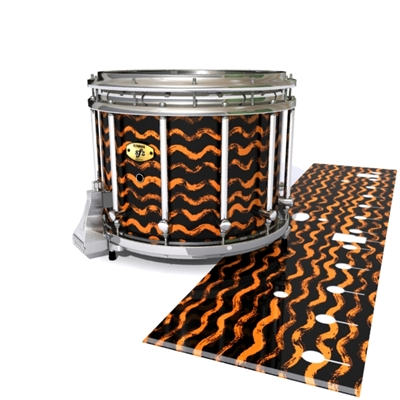Yamaha 9300 Field Corps Snare Drum Slip - Wave Brush Strokes Orange and Black (Orange)