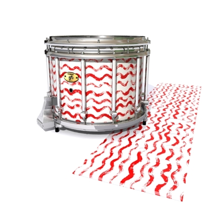 Yamaha 9300 Field Corps Snare Drum Slip - Wave Brush Strokes Red and White (Red)