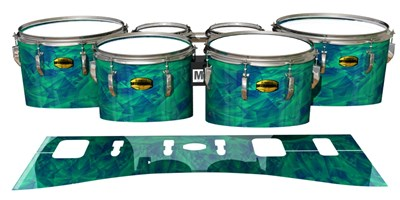 Yamaha 8300 Field Corps Tenor Drum Slips - Aqua Cosmic Glass (Aqua)
