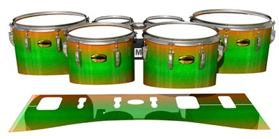 Yamaha 8300 Field Corps Tenor Drum Slips - Green Prairie Fade (Green) (Orange)