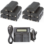 10 Batteries + LCD Dual Rapid Battery Charger for