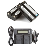 2 Batteries + LCD Dual Rapid Battery Charger for