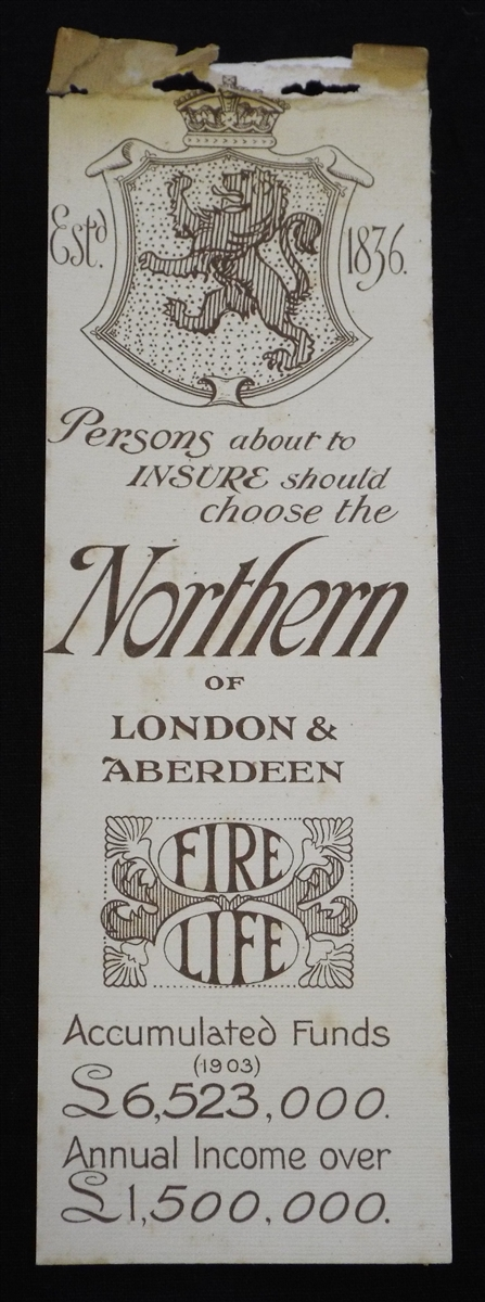 Antique trade bookmark from the Northern Insurance