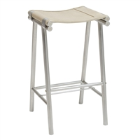 Palecek 7547-79 stainless steel frame cowhide leather seat counter stool
