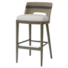 Palecek 7737-79 Bar Stool with hardwood legs featuring stainless steel stretchers and foot caps in a pewter finish