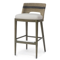 Palecek 7738-79 Counter Stool with hardwood legs with stainless steel stretchers and foot caps