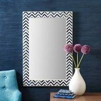Chevron Indigo Bone Mirror by Two's Company