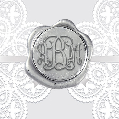 "Tiffany Script Hand-Pressed Wax Seals - 1 1/4"" Monogram"