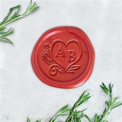 "Times Roman in Heart Adhesive Wax Seal Stickers - 1 1/4"" Monogram"