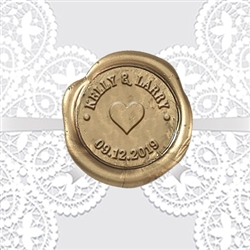 "Heart Adhesive Wax Seals 1 1/4""- Names & Date"