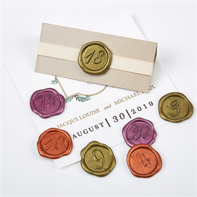 "Self Adhesive Initial Wax Seal Stickers  1"" Number Sets"