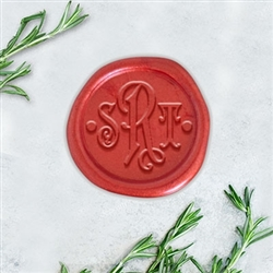"Carson Font with Dots Adhesive Wax Seals - 1 1/4"" Monogram"