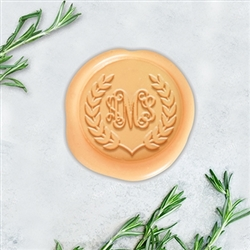 "Tiffany with Laurel Border Adhesive Wax Seals - 1 1/4"" Monogram"