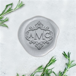 "Optimus Princeps in Scroll Border Adhesive Wax Seals - 1 1/4"" Monogram"