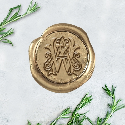 "Victorian Intertwine Adhesive Wax Seals - 1 1/4"" Monogram"