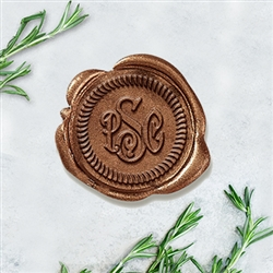 "Carson Overlay with Rope Border Adhesive Wax Seals - 1 1/4"" Monogram"