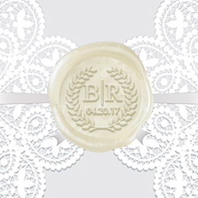 "Times Roman in  Wreath Adhesive Wax Seals - 1 1/4"" Wedding Duogram"