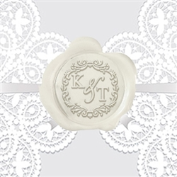 "Times Roman with Scroll Adhesive Wax Seals - 1 1/4"" Wedding Duogram"