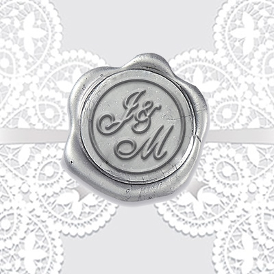 "Shelley Allegro Adhesive Wax Seals - 1 1/4"" Wedding Duogram"