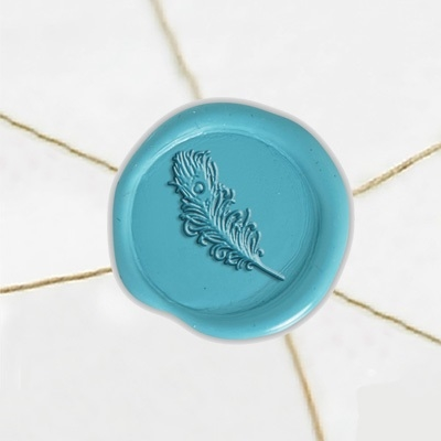 "Self Adhesive Symbol Wax Seal Stickers  1 1/4"" - Peacock Feather"