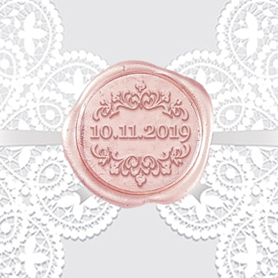 "Century Gothic with Fleur Adhesive Wax Seals - 1 1/4"" Wedding Duogram"