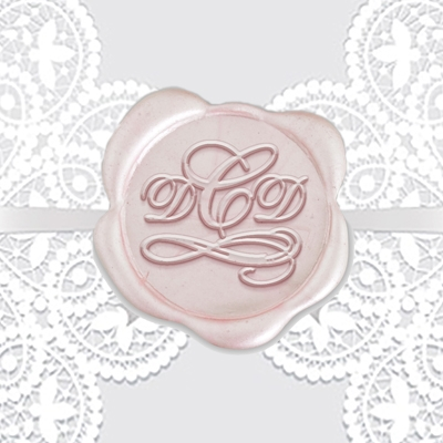 "Shelly Font with Swirl Adhesive Wax Seals - 1 1/4"" Monogram"