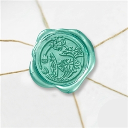 "Self Adhesive Symbol Wax Seal Stickers  1 1/4"" - Asian Floral 6"