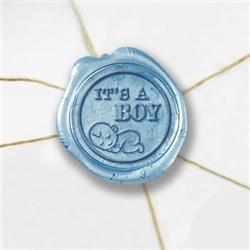 "Self Adhesive Symbol Wax Seal Stickers  1 1/4"" - It's a Boy"