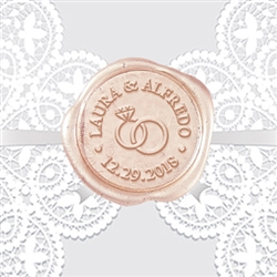 "Wedding Rings Adhesive Wax Seals - 1 1/4"" Name and Date"