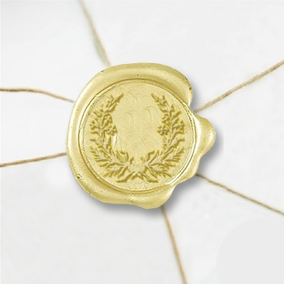 "Self Adhesive Symbol Wax Seal Stickers  1 1/4"" - Wreath 2"