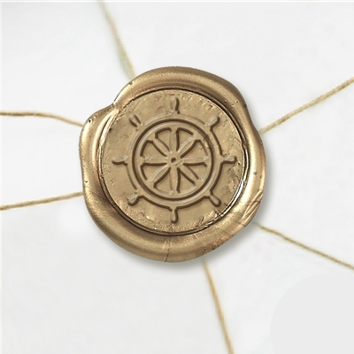 "Self Adhesive Symbol Wax Seal Stickers  1 1/4"" - Ships Wheel"