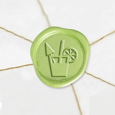 "Self Adhesive Symbol Wax Seal Stickers  1 1/4"" - Cocktails"