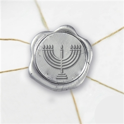 "Self Adhesive Symbol Wax Seal Stickers  1 1/4"" - Menorah"