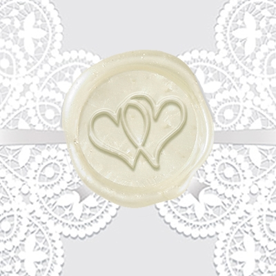 Double Heart Adhesive Wax Seals - Wedding Symbol
