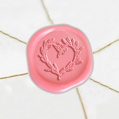 "Self Adhesive Symbol Wax Seal Stickers  1 1/4"" - Olive Branch Heart"