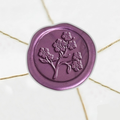 "Self Adhesive Symbol Wax Seal Stickers  1 1/4"" - Forget Me Not"