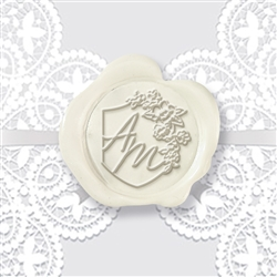 "Custom Adhesive Wax Seal Stickers Hand Pressed - 1 1/4"" Wedding Duogram Red Velvet Initials with Floral Shield"