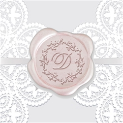 "Custom Adhesive Wax Seal Stickers Hand Pressed - 1 1/4"" Wedding Duogram Romance Font"