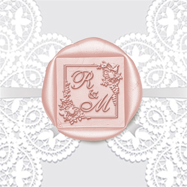 "Custom Adhesive Wax Seal Stickers Hand Pressed - 1 3/8"" Wedding Duogram Shelly Allegro in Square Floral"