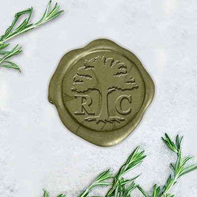 "Times Roman Oak Tree Adhesive Wax Seals - 1 1/4"" Monogram"