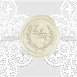 "Italic Antigua Font in Wreath Adhesive Wax Seals - 1 1/4"" Wedding Duogram"