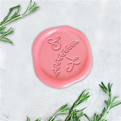 "Lydia Font with Laurel Branch Adhesive Wax Seals - 1 1/4"" Monogram"