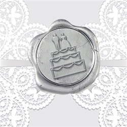 Bride and Groom Cake Adhesive Wax Seals - Wedding Symbol