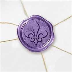 "Self Adhesive Symbol Wax Seal Stickers  1 1/4"" - Ornamental Fleur"